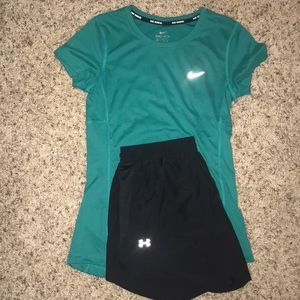 Women's Nike Shirt And Women's Under Amour Shorts
